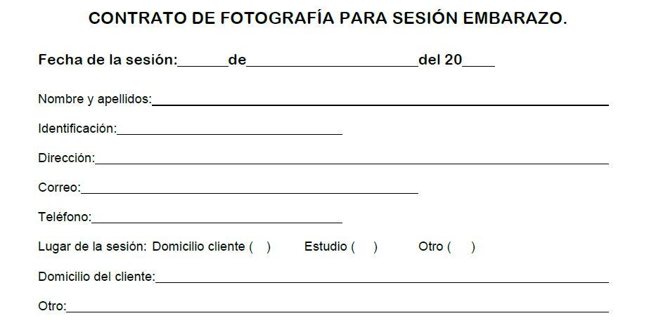 Contrato fotográfico